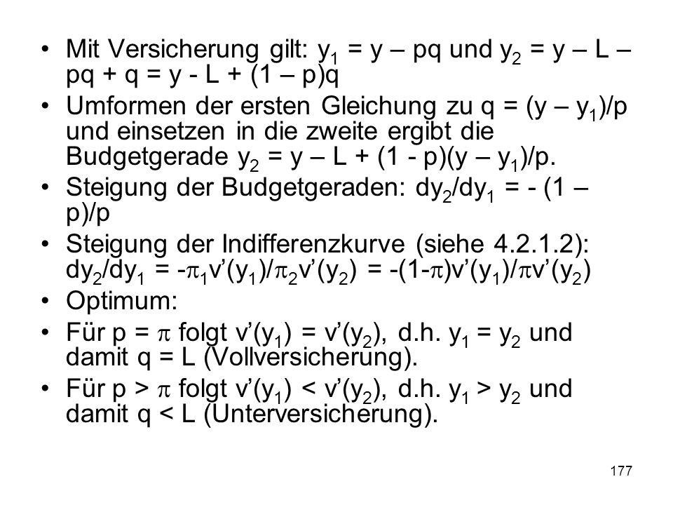 177 Mit Versicherung gilt: y 1 = y – pq und y 2 = y – L – pq + q = y - L + (1 – p)q Umformen der ersten Gleichung zu q = (y – y 1 )/p und einsetzen in die zweite ergibt die Budgetgerade y 2 = y – L + (1 - p)(y – y 1 )/p.