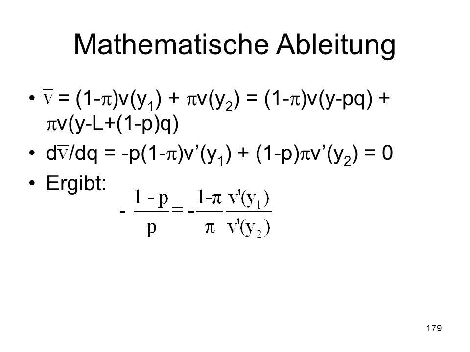 179 Mathematische Ableitung = (1- )v(y 1 ) + v(y 2 ) = (1- )v(y-pq) + v(y-L+(1-p)q) d /dq = -p(1- )v(y 1 ) + (1-p) v(y 2 ) = 0 Ergibt: