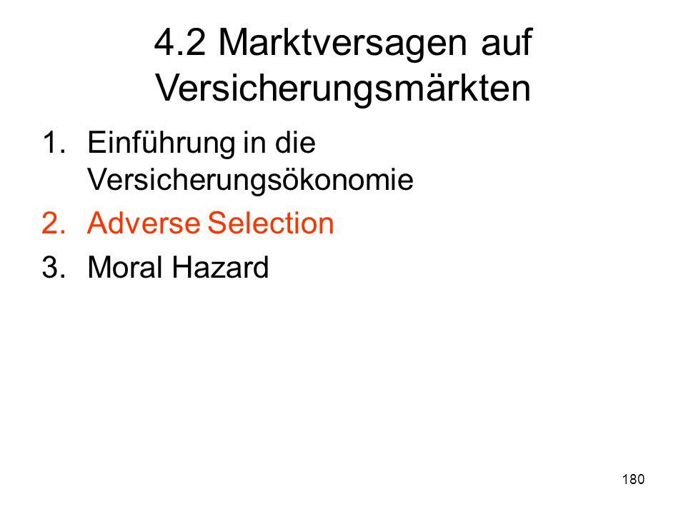 180 4.2 Marktversagen auf Versicherungsmärkten 1.Einführung in die Versicherungsökonomie 2.Adverse Selection 3.Moral Hazard