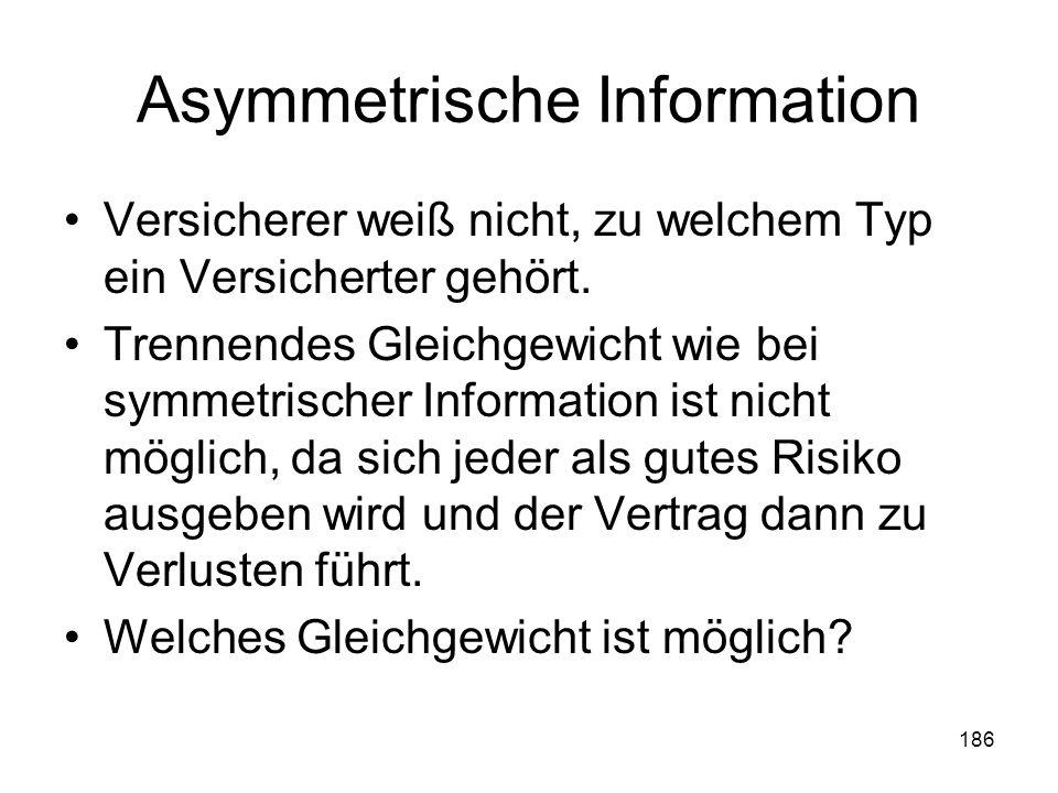 186 Asymmetrische Information Versicherer weiß nicht, zu welchem Typ ein Versicherter gehört.