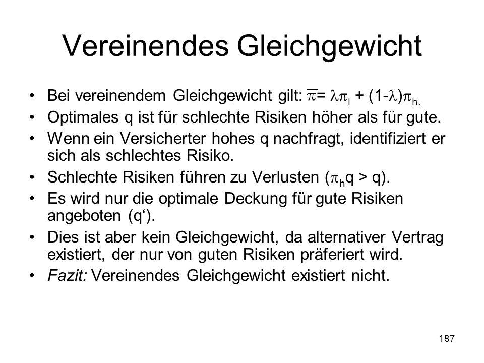 187 Vereinendes Gleichgewicht Bei vereinendem Gleichgewicht gilt: = l + (1- ) h.