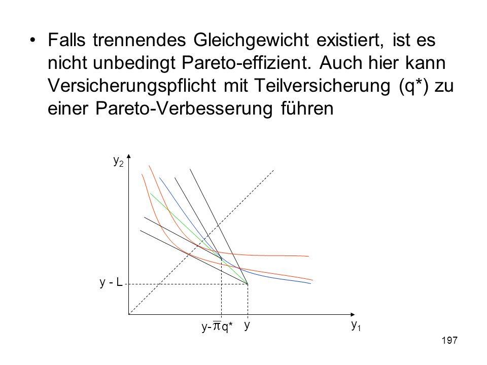 197 Falls trennendes Gleichgewicht existiert, ist es nicht unbedingt Pareto-effizient.