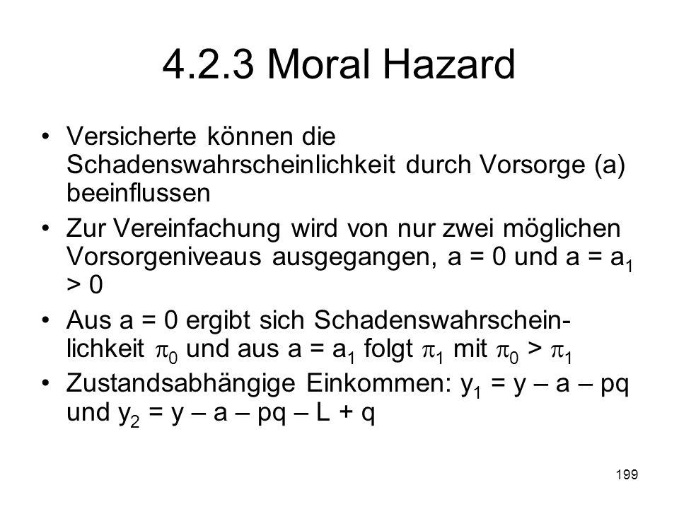 199 4.2.3 Moral Hazard Versicherte können die Schadenswahrscheinlichkeit durch Vorsorge (a) beeinflussen Zur Vereinfachung wird von nur zwei möglichen Vorsorgeniveaus ausgegangen, a = 0 und a = a 1 > 0 Aus a = 0 ergibt sich Schadenswahrschein- lichkeit 0 und aus a = a 1 folgt 1 mit 0 > 1 Zustandsabhängige Einkommen: y 1 = y – a – pq und y 2 = y – a – pq – L + q