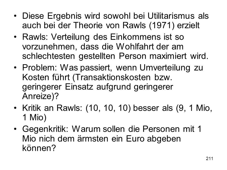 211 Diese Ergebnis wird sowohl bei Utilitarismus als auch bei der Theorie von Rawls (1971) erzielt Rawls: Verteilung des Einkommens ist so vorzunehmen, dass die Wohlfahrt der am schlechtesten gestellten Person maximiert wird.