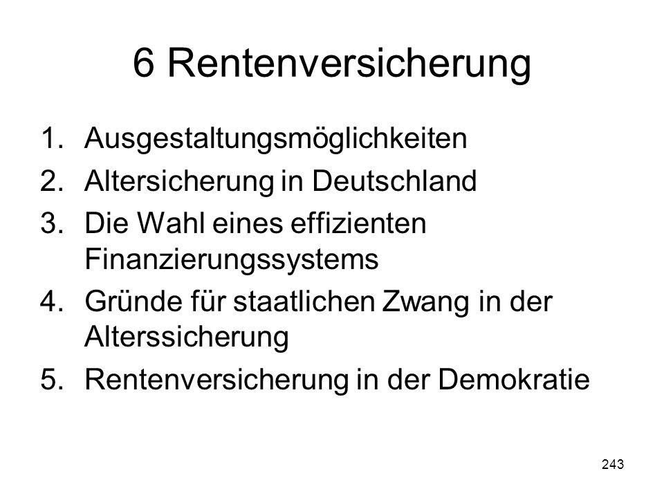 243 6 Rentenversicherung 1.Ausgestaltungsmöglichkeiten 2.Altersicherung in Deutschland 3.Die Wahl eines effizienten Finanzierungssystems 4.Gründe für staatlichen Zwang in der Alterssicherung 5.Rentenversicherung in der Demokratie