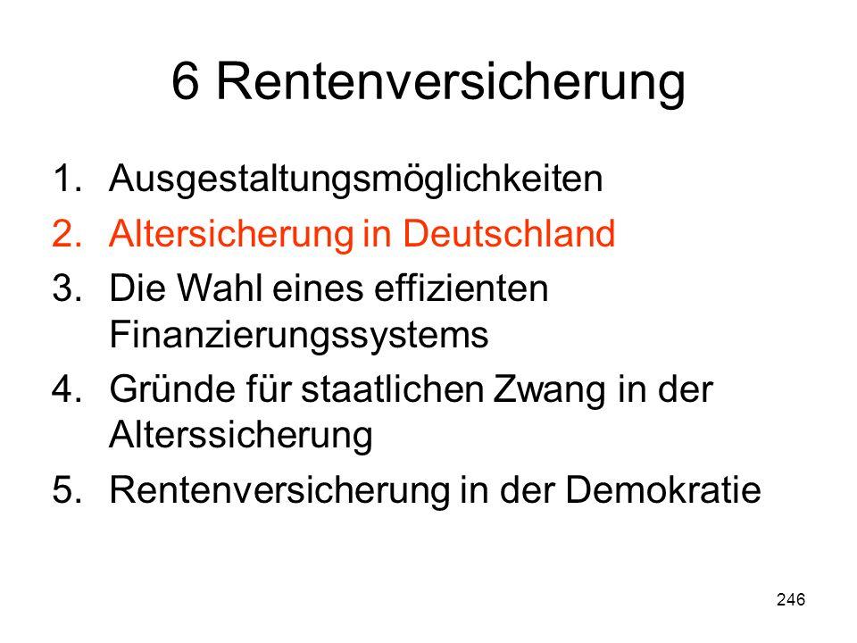 246 6 Rentenversicherung 1.Ausgestaltungsmöglichkeiten 2.Altersicherung in Deutschland 3.Die Wahl eines effizienten Finanzierungssystems 4.Gründe für staatlichen Zwang in der Alterssicherung 5.Rentenversicherung in der Demokratie