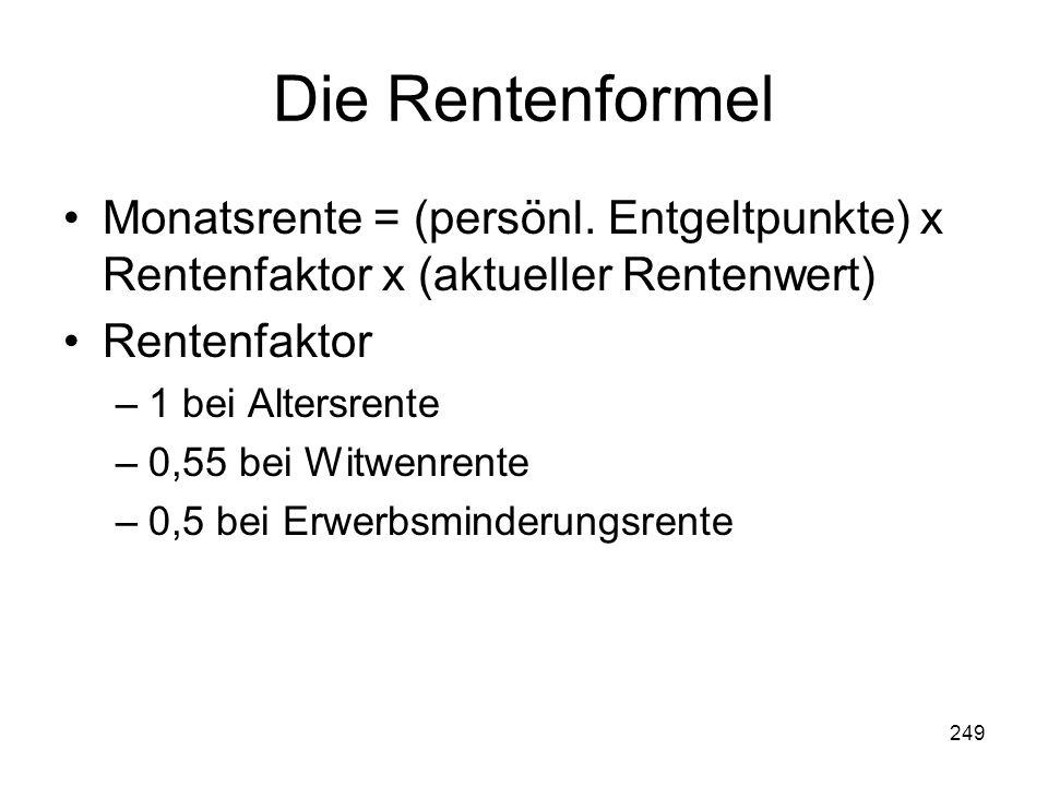 249 Die Rentenformel Monatsrente = (persönl.
