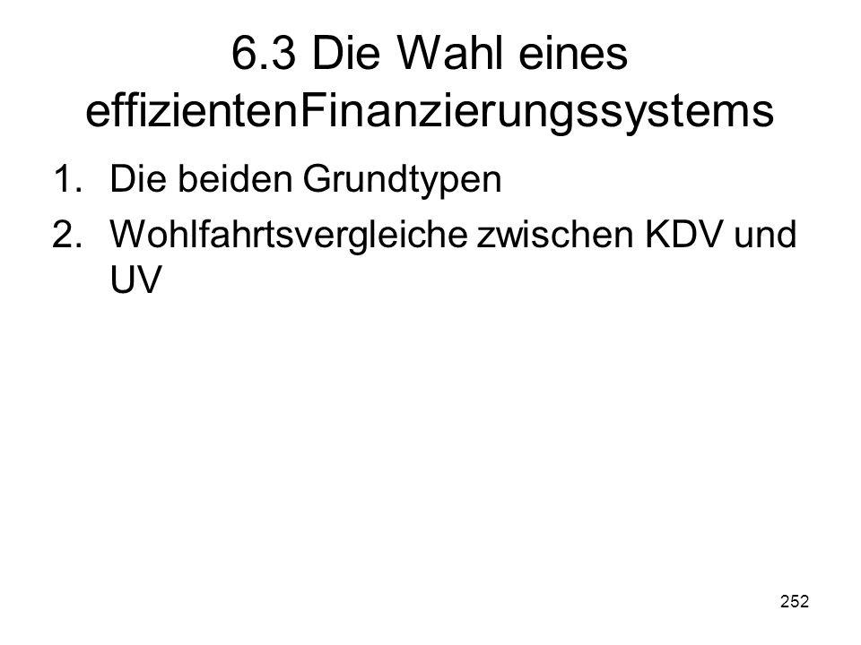 252 6.3 Die Wahl eines effizientenFinanzierungssystems 1.Die beiden Grundtypen 2.Wohlfahrtsvergleiche zwischen KDV und UV