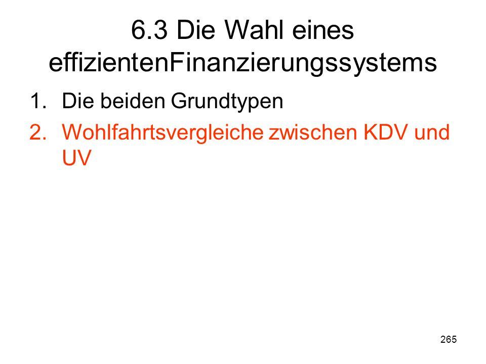 265 6.3 Die Wahl eines effizientenFinanzierungssystems 1.Die beiden Grundtypen 2.Wohlfahrtsvergleiche zwischen KDV und UV