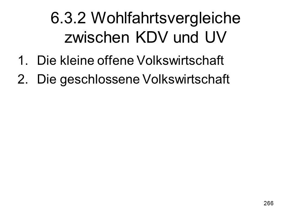 266 6.3.2 Wohlfahrtsvergleiche zwischen KDV und UV 1.Die kleine offene Volkswirtschaft 2.Die geschlossene Volkswirtschaft