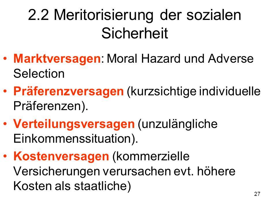 27 2.2 Meritorisierung der sozialen Sicherheit Marktversagen: Moral Hazard und Adverse Selection Präferenzversagen (kurzsichtige individuelle Präferenzen).