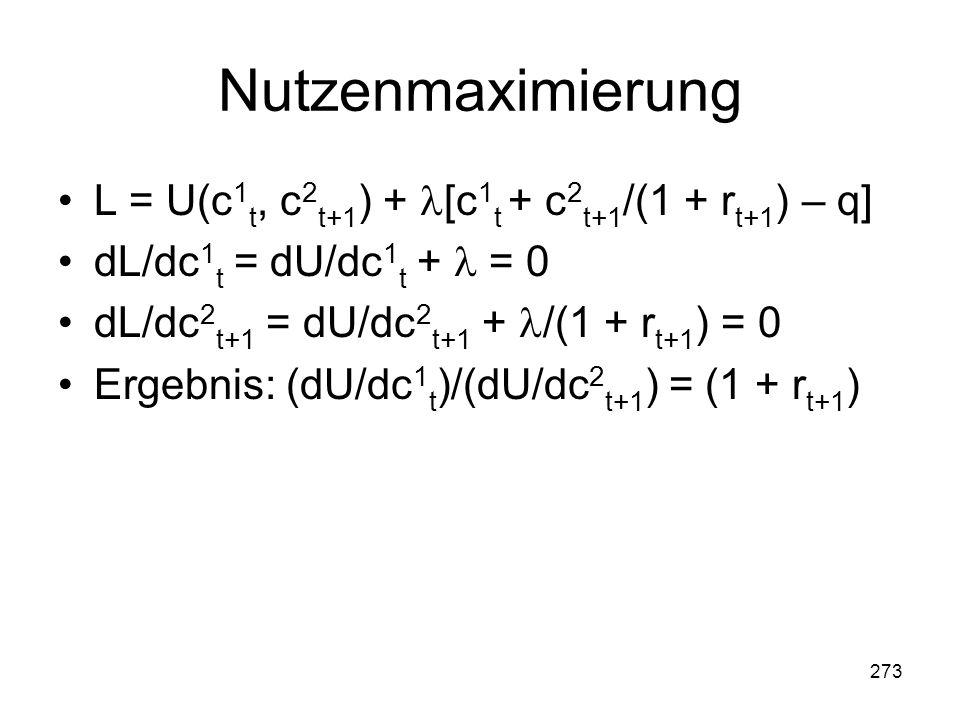 273 Nutzenmaximierung L = U(c 1 t, c 2 t+1 ) + [c 1 t + c 2 t+1 /(1 + r t+1 ) – q] dL/dc 1 t = dU/dc 1 t + = 0 dL/dc 2 t+1 = dU/dc 2 t+1 + /(1 + r t+1 ) = 0 Ergebnis: (dU/dc 1 t )/(dU/dc 2 t+1 ) = (1 + r t+1 )