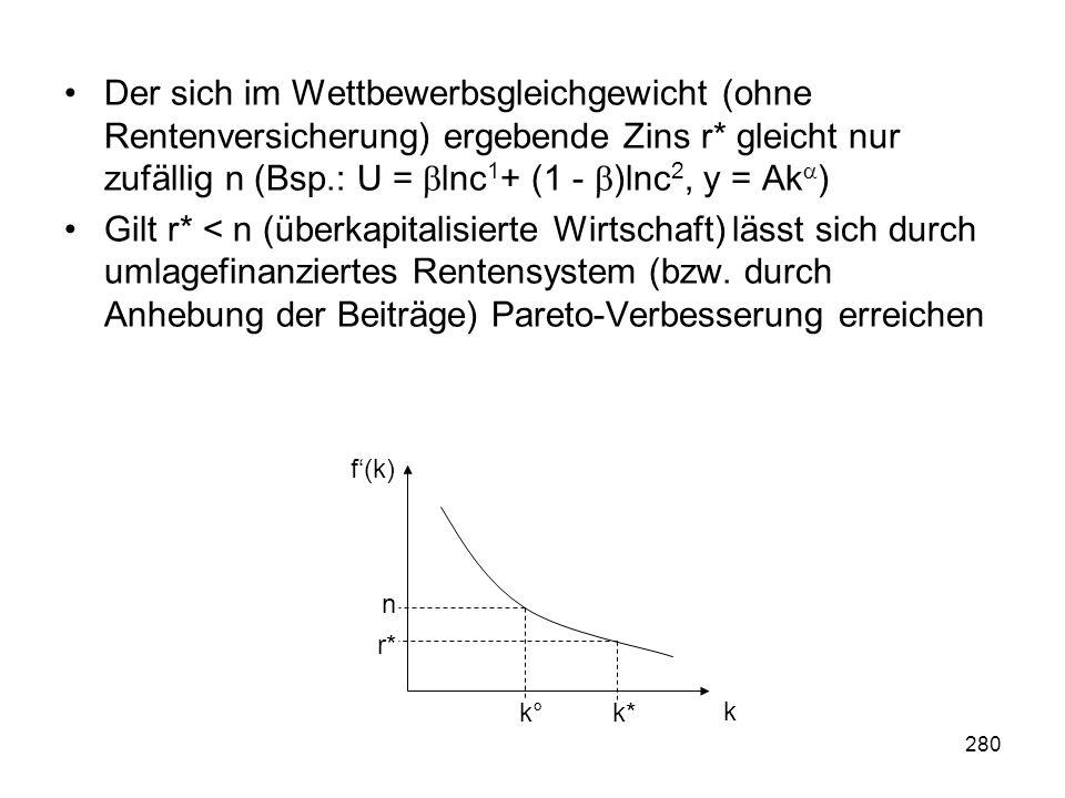 280 Der sich im Wettbewerbsgleichgewicht (ohne Rentenversicherung) ergebende Zins r* gleicht nur zufällig n (Bsp.: U = lnc 1 + (1 - )lnc 2, y = Ak ) Gilt r* < n (überkapitalisierte Wirtschaft) lässt sich durch umlagefinanziertes Rentensystem (bzw.