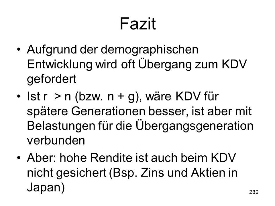 282 Fazit Aufgrund der demographischen Entwicklung wird oft Übergang zum KDV gefordert Ist r > n (bzw.
