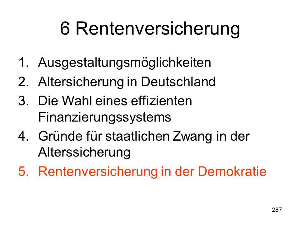 287 6 Rentenversicherung 1.Ausgestaltungsmöglichkeiten 2.Altersicherung in Deutschland 3.Die Wahl eines effizienten Finanzierungssystems 4.Gründe für staatlichen Zwang in der Alterssicherung 5.Rentenversicherung in der Demokratie