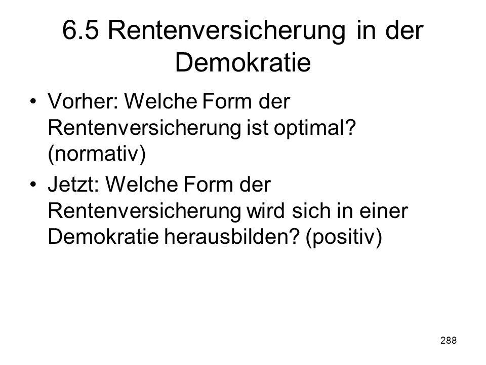 288 6.5 Rentenversicherung in der Demokratie Vorher: Welche Form der Rentenversicherung ist optimal.