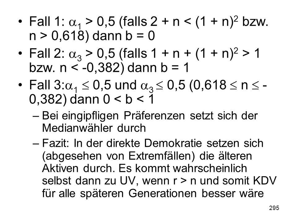 295 Fall 1: 1 > 0,5 (falls 2 + n 0,618) dann b = 0 Fall 2: 3 > 0,5 (falls 1 + n + (1 + n) 2 > 1 bzw.