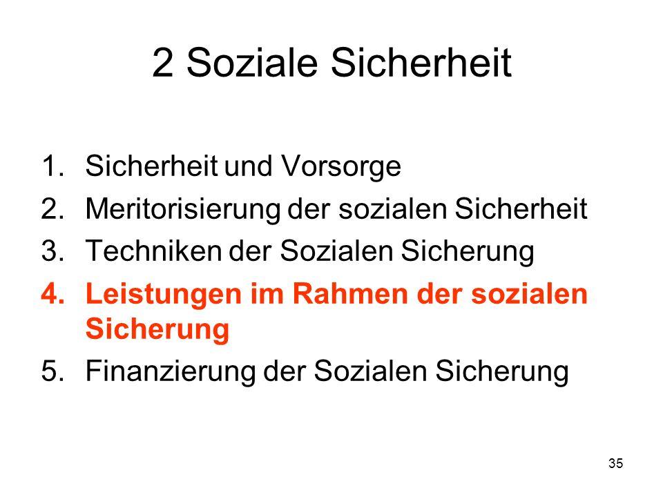35 2 Soziale Sicherheit 1.Sicherheit und Vorsorge 2.Meritorisierung der sozialen Sicherheit 3.Techniken der Sozialen Sicherung 4.Leistungen im Rahmen der sozialen Sicherung 5.Finanzierung der Sozialen Sicherung