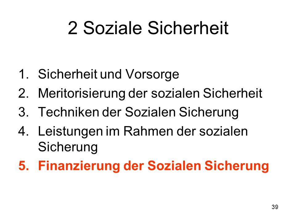 39 2 Soziale Sicherheit 1.Sicherheit und Vorsorge 2.Meritorisierung der sozialen Sicherheit 3.Techniken der Sozialen Sicherung 4.Leistungen im Rahmen der sozialen Sicherung 5.Finanzierung der Sozialen Sicherung