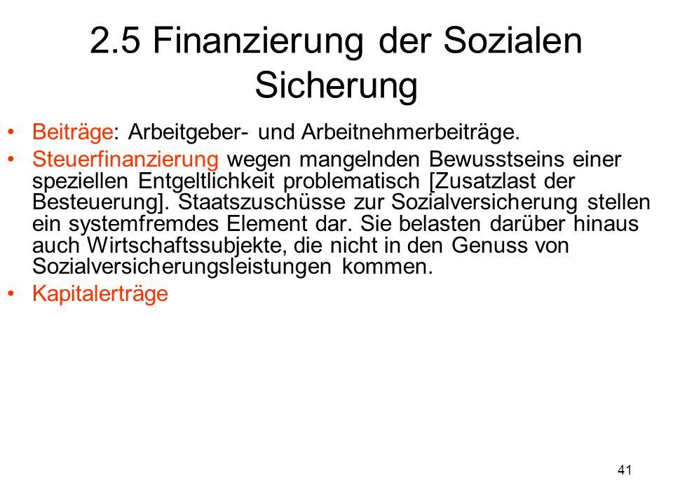 41 2.5 Finanzierung der Sozialen Sicherung Beiträge: Arbeitgeber- und Arbeitnehmerbeiträge.