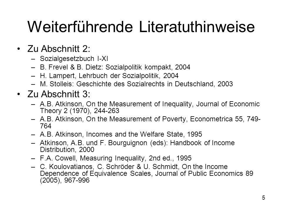 46 3.1 Die Messung von Ungleichheit 1.Äquivalenzskalen 2.Das Transferprinzip und Lorenzkurven 3.Absolute versus relative Gleichheit 4.Aggregierte Ungleichheitsmaße