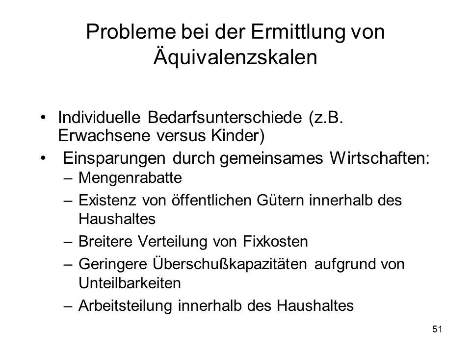 51 Probleme bei der Ermittlung von Äquivalenzskalen Individuelle Bedarfsunterschiede (z.B.