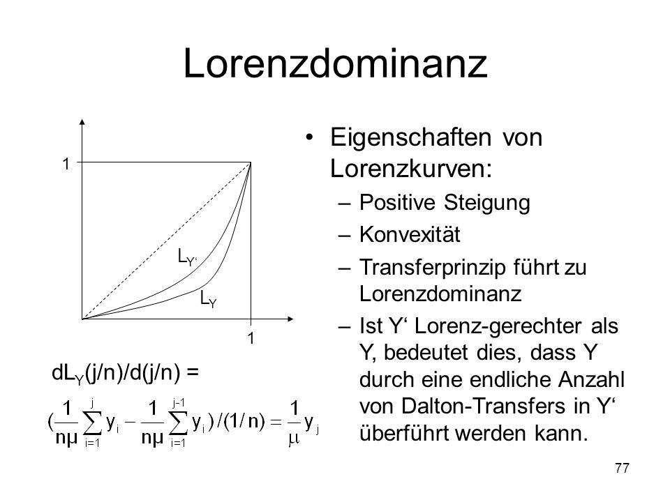 77 Lorenzdominanz 1 1 Eigenschaften von Lorenzkurven: –Positive Steigung –Konvexität –Transferprinzip führt zu Lorenzdominanz –Ist Y Lorenz-gerechter als Y, bedeutet dies, dass Y durch eine endliche Anzahl von Dalton-Transfers in Y überführt werden kann.