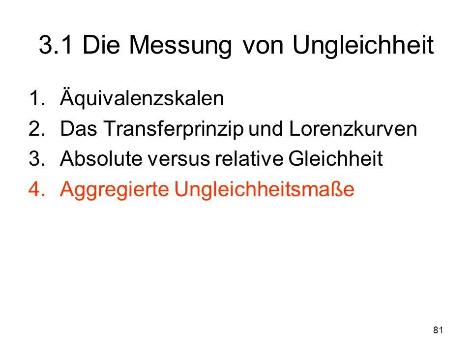 81 3.1 Die Messung von Ungleichheit 1.Äquivalenzskalen 2.Das Transferprinzip und Lorenzkurven 3.Absolute versus relative Gleichheit 4.Aggregierte Ungleichheitsmaße