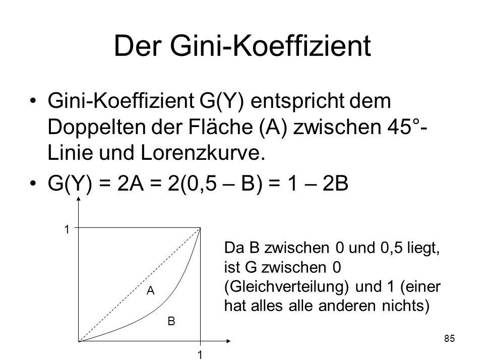 85 Der Gini-Koeffizient Gini-Koeffizient G(Y) entspricht dem Doppelten der Fläche (A) zwischen 45°- Linie und Lorenzkurve.