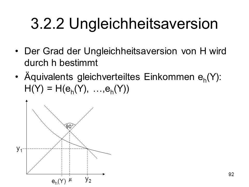 92 3.2.2 Ungleichheitsaversion Der Grad der Ungleichheitsaversion von H wird durch h bestimmt Äquivalents gleichverteiltes Einkommen e h (Y): H(Y) = H(e h (Y), …,e h (Y)) y1y1 y2y2 90° e h (Y)