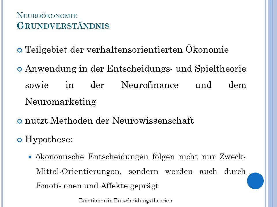 N EUROÖKONOMIE G RUNDVERSTÄNDNIS Teilgebiet der verhaltensorientierten Ökonomie Anwendung in der Entscheidungs- und Spieltheorie sowie in der Neurofin
