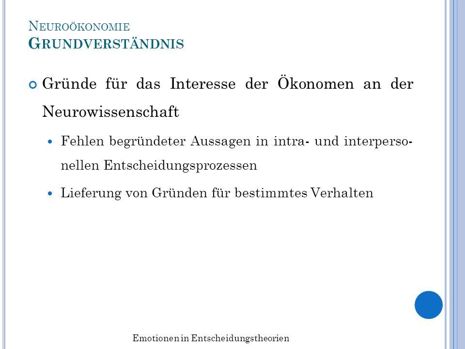 N EUROÖKONOMIE G RUNDVERSTÄNDNIS Gründe für das Interesse der Ökonomen an der Neurowissenschaft Fehlen begründeter Aussagen in intra- und interperso-