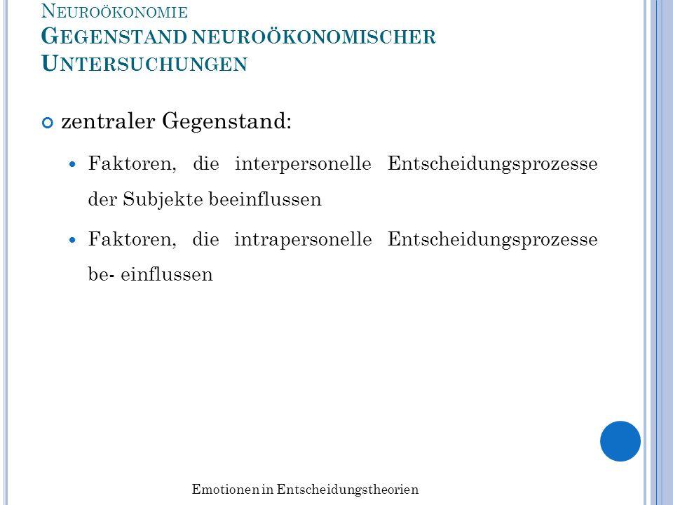 N EUROÖKONOMIE G EGENSTAND NEUROÖKONOMISCHER U NTERSUCHUNGEN zentraler Gegenstand: Faktoren, die interpersonelle Entscheidungsprozesse der Subjekte be
