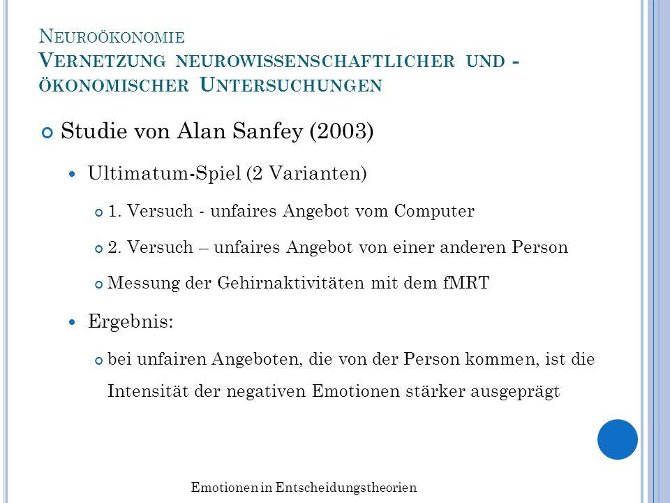 N EUROÖKONOMIE V ERNETZUNG NEUROWISSENSCHAFTLICHER UND - ÖKONOMISCHER U NTERSUCHUNGEN Studie von Alan Sanfey (2003) Ultimatum-Spiel (2 Varianten) 1. V