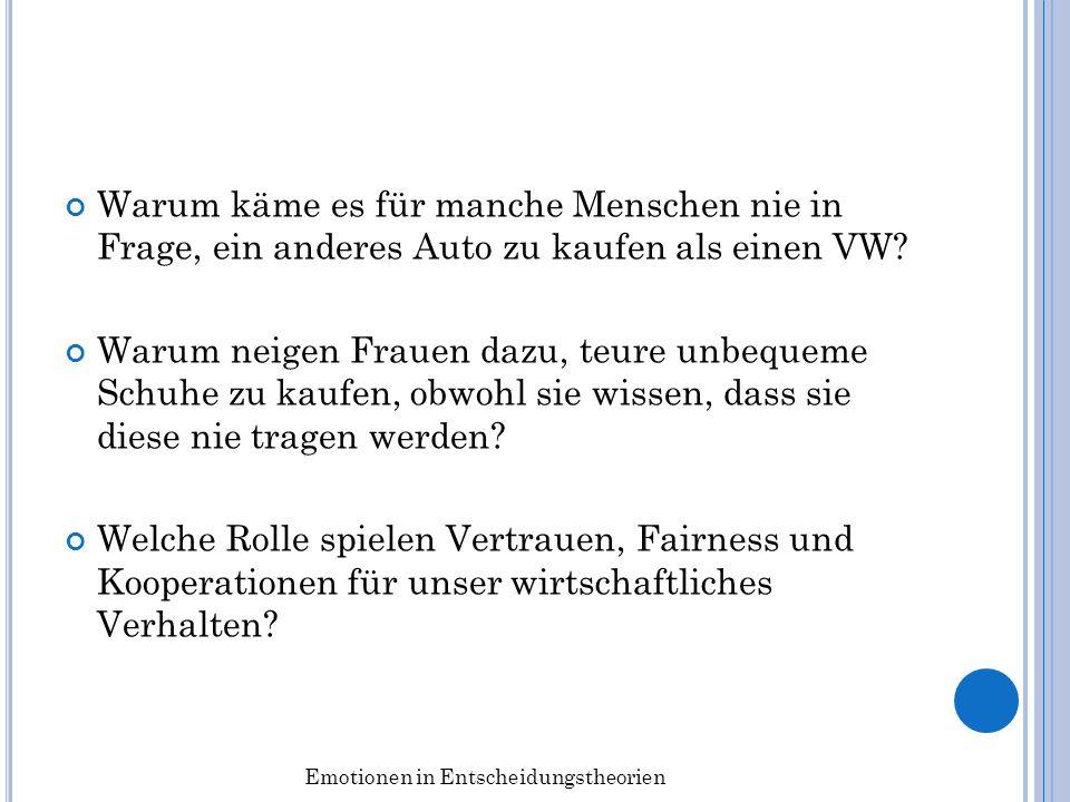 Warum käme es für manche Menschen nie in Frage, ein anderes Auto zu kaufen als einen VW? Warum neigen Frauen dazu, teure unbequeme Schuhe zu kaufen, o