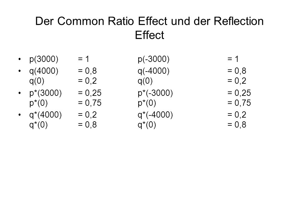 Der Common Ratio Effect und der Reflection Effect p(3000)= 1p(-3000)= 1 q(4000)= 0,8q(-4000) = 0,8 q(0)= 0,2q(0)= 0,2 p*(3000)= 0,25p*(-3000)= 0,25 p*