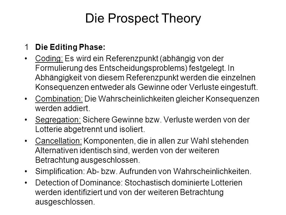 Die Prospect Theory 1Die Editing Phase: Coding: Es wird ein Referenzpunkt (abhängig von der Formulierung des Entscheidungsproblems) festgelegt. In Abh