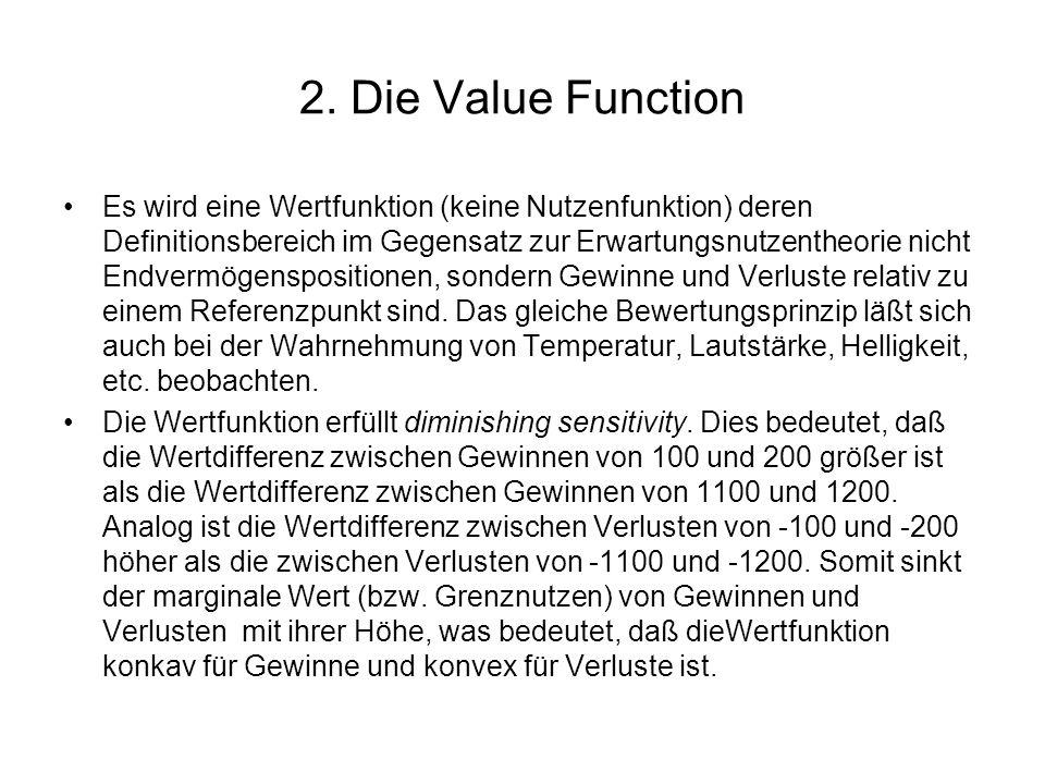 Weiterhin erfüllt die Wertfunktion loss aversion, was bedeutet, daß ein gegebener Verlust einen stärkeren Einfluß hat als ein gleich hoher Gewinn.