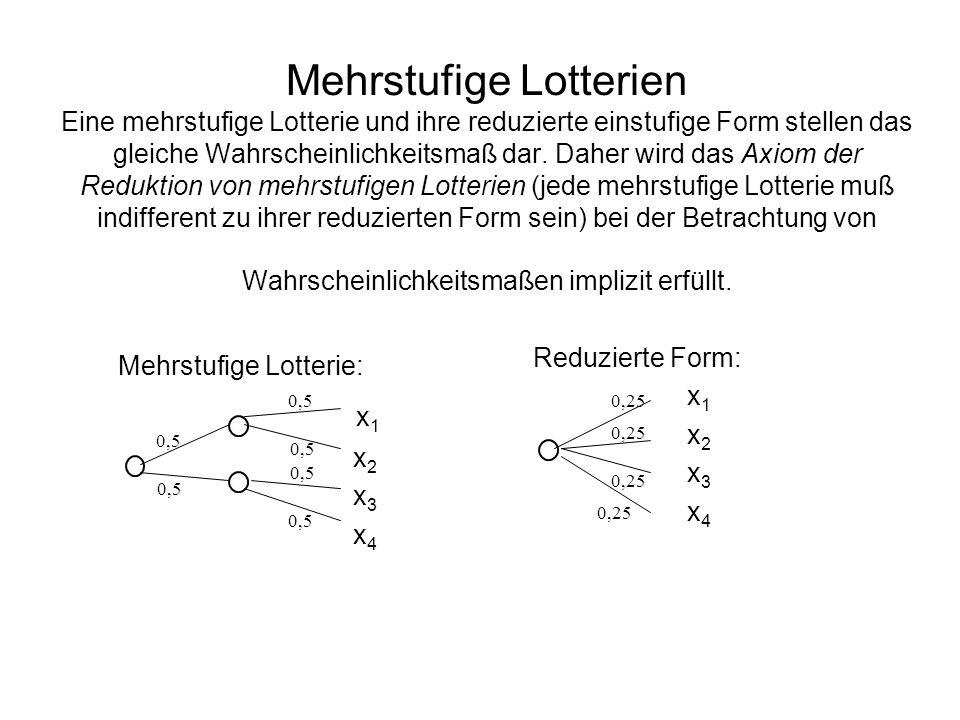 Die Erwartungsnutzentheorie Ordnungsaxiom: ist vollständig und transitiv auf der Menge P.