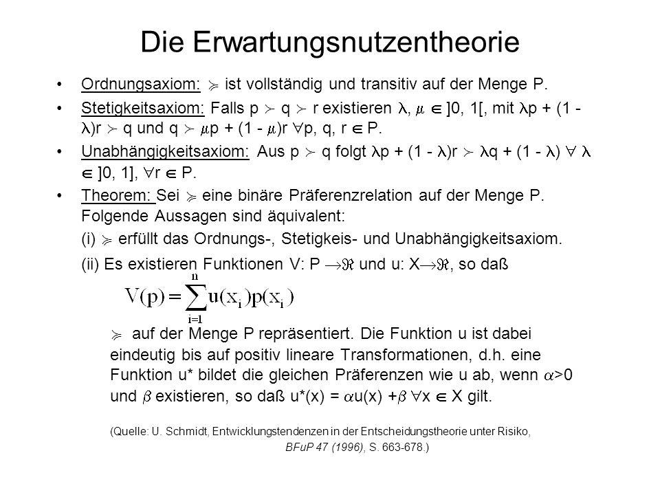 Stochastische Dominanz Definition: Eine kumulierte Verteilungsfunktion F : X [0, 1] ordnet jeder Konsequenz die Wahrscheinlichkeit zu, daß sie unterschritten oder genau erreicht wird.