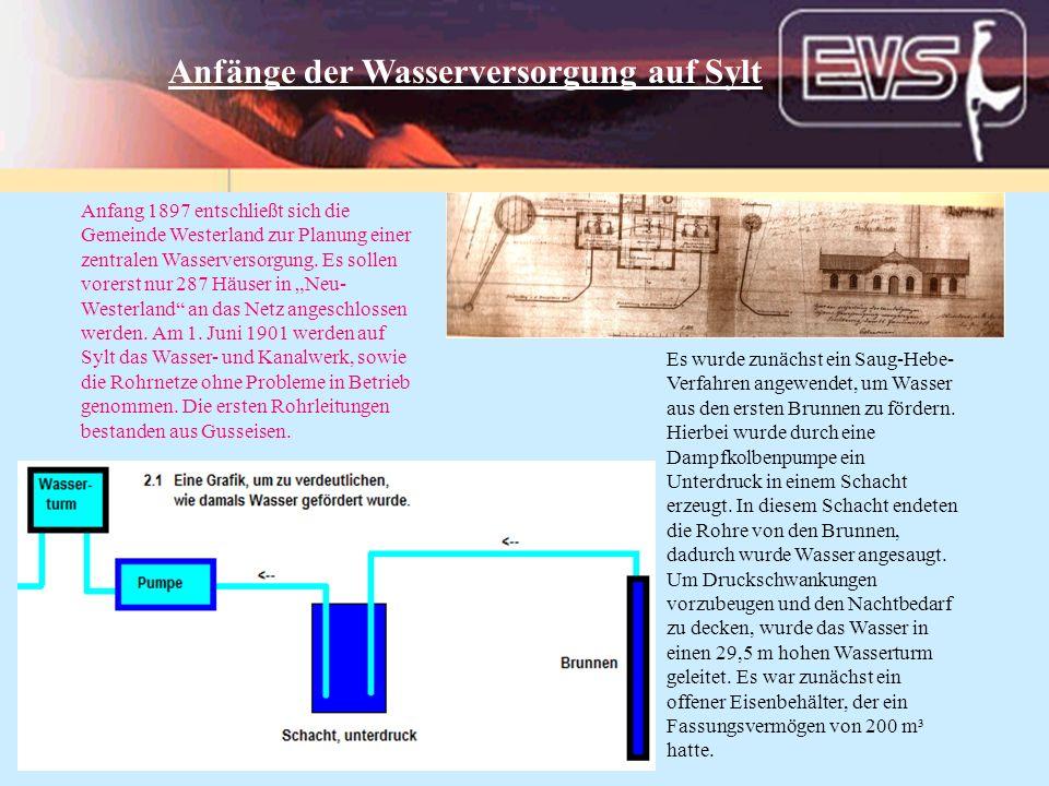 Anfang 1897 entschließt sich die Gemeinde Westerland zur Planung einer zentralen Wasserversorgung. Es sollen vorerst nur 287 Häuser in Neu- Westerland