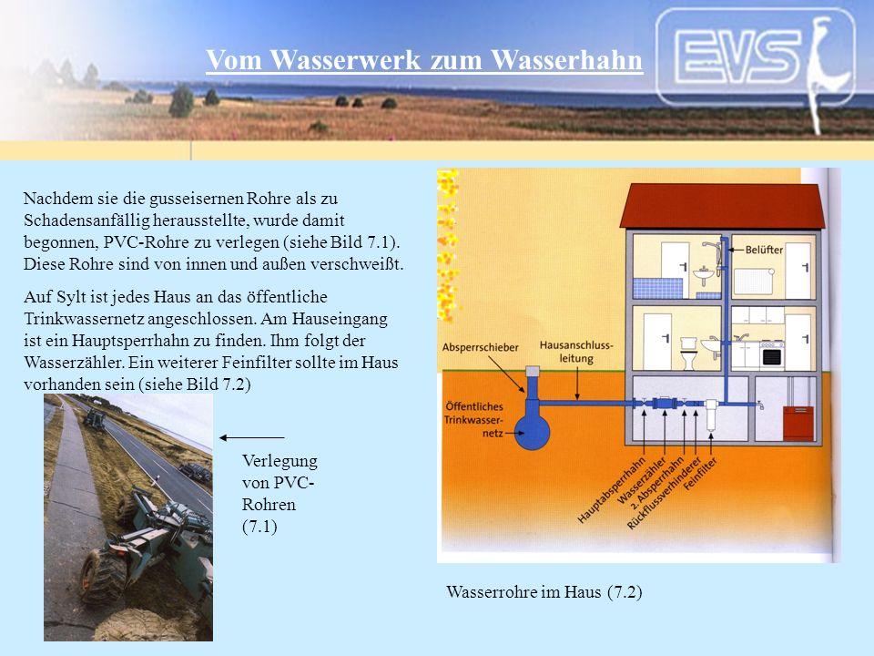 Noch einige Grunddaten des EVS-Wasserwerks - 12.000 m³/Tag Förderkapazität - 14 Brunnen im Betrieb, 16 zur Verfügung - 10 Reinwasserpumpen - 177 km Hauptrohrnetz - 6.892 installierte Wasserzähler / Hausanschlüsse - Gewinn: 21.0 Mio DM (Vorjahr: 7.0 Mio DM) - 37 Angestellte, 4 Azubis, 19 gewerbliche Mitarbeiter Stand 12/2000 EVS Energieversorgung Sylt GmbH Friesische Straße 53 25980 Westerland / Sylt