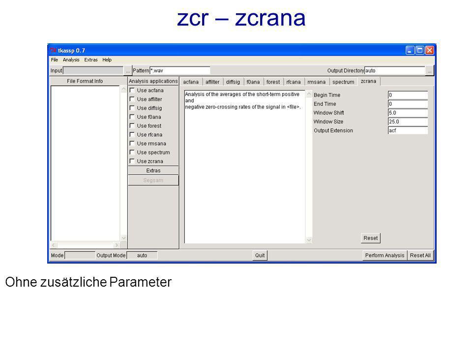 zcr – zcrana Ohne zusätzliche Parameter