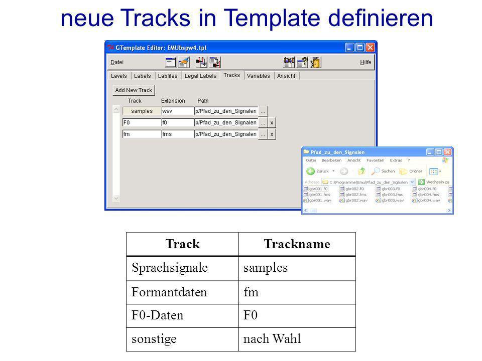 neue Tracks in Template definieren TrackTrackname Sprachsignalesamples Formantdatenfm F0-DatenF0 sonstigenach Wahl