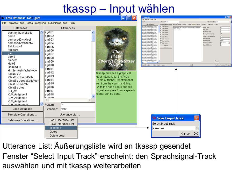 tkassp – Input wählen Utterance List: Äußerungsliste wird an tkassp gesendet Fenster Select Input Track erscheint: den Sprachsignal-Track auswählen und mit tkassp weiterarbeiten
