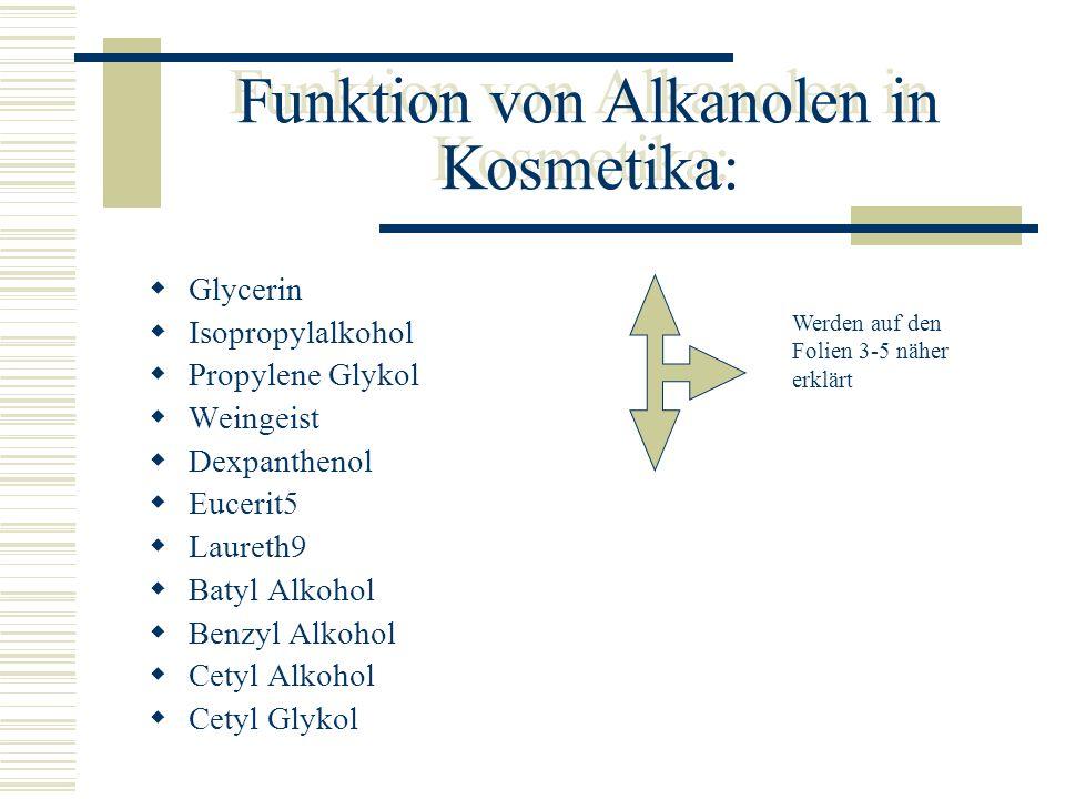 Funktion von Alkanolen in Kosmetika: Glycerin Isopropylalkohol Propylene Glykol Weingeist Dexpanthenol Eucerit5 Laureth9 Batyl Alkohol Benzyl Alkohol