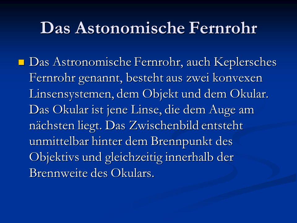Das Astonomische Fernrohr Das Astronomische Fernrohr, auch Keplersches Fernrohr genannt, besteht aus zwei konvexen Linsensystemen, dem Objekt und dem Okular.
