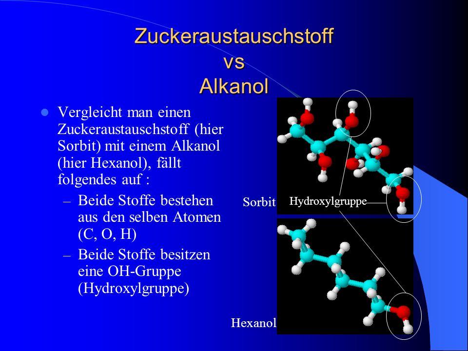 Zuckeraustauschstoff vs Alkanol Vergleicht man einen Zuckeraustauschstoff (hier Sorbit) mit einem Alkanol (hier Hexanol), fällt folgendes auf : – Beid
