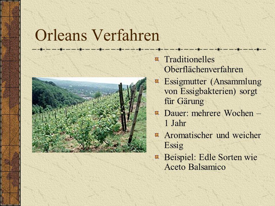 Herstellung Essig kann beinahe aus allen Obst-, Getreide und Zuckerarten hergestellt werden Es entsteht durch die Oxydation von Alkohol in Essigsäure durch Essigbakterien (Acetobacter) CH3CH2OH + O2 > CH3COOH + H2O
