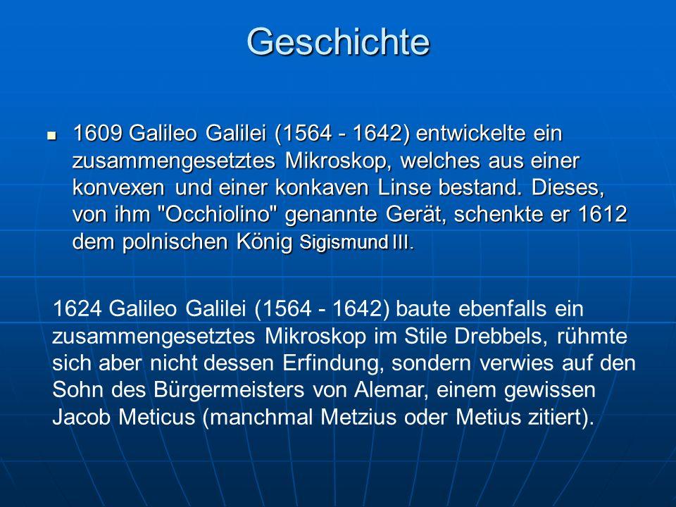 Geschichte2 Erfinder war der holländische Glasschleifer Jansen 1757 erfand der Engländer Dollond die achromatische Linse,die 1815 von Frauenhofer verbessert wurde.